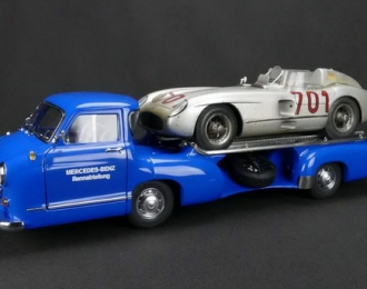 "MERCEDES-BENZ Racing Car Transporter ""Blue Wonder"" 1955 + 300 SLR №701 Dirty Hero ® 1955 Silver (CMC Bundle) Limited Edition 1000 pcs."