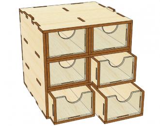 Mini модуль-органайзер на 6 ящичков