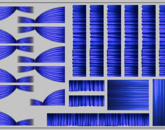 Набор декалей Шторки для Ikarus (200х70), синие