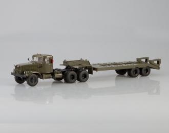 КрАЗ-258Б1 с полуприцепом-тяжеловозом ЧМЗАП-5523, хаки