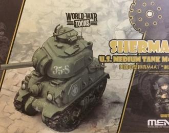 Сборная модель Американский средний танк M4A1 Sherman (карикатура, сборка без клея для детей)