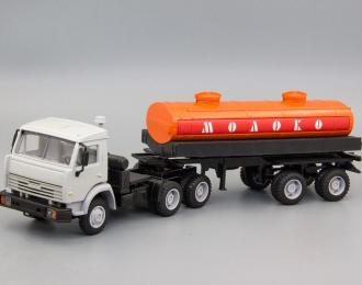 Камский грузовик 54115 (высокая дневная кабина) с цистерной Молоко, серый / оранжевый