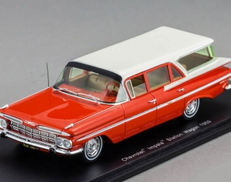 CHEVROLET Impala Station Wagon (1959), red with white roof