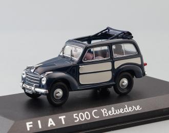 FIAT 500 C Belvedere, dark blue / beige