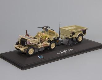 JEEP Willys CJ-2A с прицепом и фигуркой водителя, песочный камуфляж