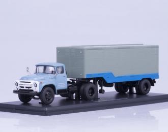 ЗИЛ 130В1 (ранняя облицовка) с полуприцепом ОДАЗ-794, голубой / серый