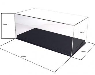 Прозрачный бокс для модели в масштабе 1:18, подставка из черной кожи (323*160*135mm)