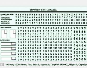 Набор декалей Номерные знаки РФ гражданские (наборные) вар.№2, 100x40
