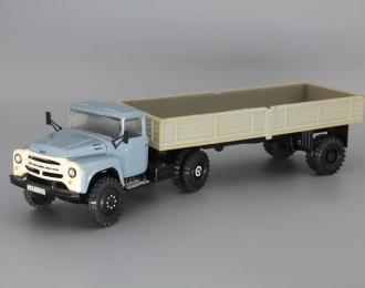 ЗИЛ-130В1 с полуприцепом ОДАЗ-885, голубой / серый