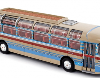 SAVIEM S53M (1970), creme with red / blue stripes