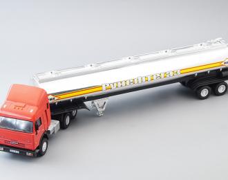Камский грузовик 54115 седельный тягач с прицепом Рунефтегаз, красный / серебристый
