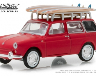 VOLKSWAGEN 1600 c багажником и доской для серфинга 1962 Red