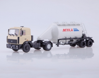 МАЗ-5432 с полуприцепом АСП-25, бежевый / белый
