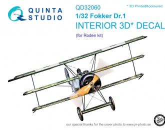 3D Декаль интерьера кабины Fokker Dr.1 (для модели Roden)