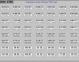 Набор декалей Номерные знаки СССР 1934 года (100х70)