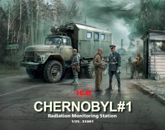 Сборная модель Чернобыль №1. Пункт радиационного контроля (ЗиЛ-131КШМ, 5 фигур и картонная подставка с фоном)