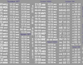 Набор декалей 0001 Дублирующие номера для грузовиков и прицепов (вариант 1)