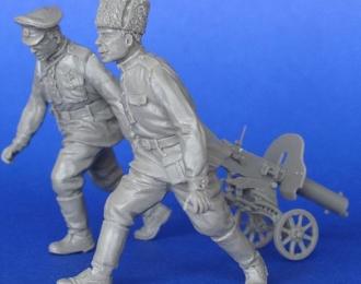 Русские солдаты с пулеметом Максим. Первая Мировая Война.