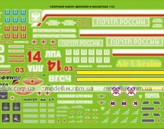 Набор декалей Почта России и Украины, 190х80