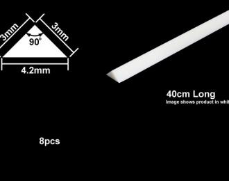 Пластиковые стержни (треугольные белые матовые) сторона 3 мм, длина 40 см. (8 шт), полистирин
