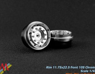 Диск передний широкий (тягач/фура) 10 отв. (малые) 11,25x22,5 (хром), цена за шт.