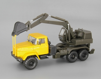 КрАЗ-6322 ЭО-4422 Экскаватор, желтый / зеленый