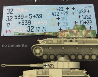 Декаль Немецкий средний танк Pz.Kpfw. IV Ausf. H. Часть 1