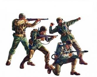 Американские пехотинцы в атаке (4 фигуры) с 8 видами оружия и 2 подставками