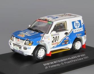 MITSUBISHI Pajero HP #201 JP. Fontenay - G. Picard Paris Dakar (2001), white / blue