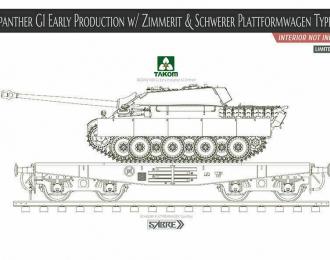 Сборная модель Jagdpanther G1 Early Production w/Zimmerit & Schwerer PlatformwagenType Ssys