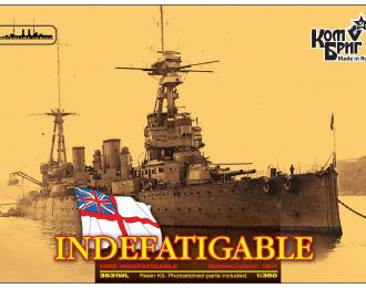 """Сборная модель Британский линейный крейсер HMS """"Indefatigable"""" (1911г.) (полный корпус)"""
