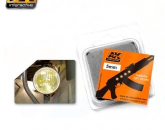 Линзы прозрачные желтые AMBER 5mm