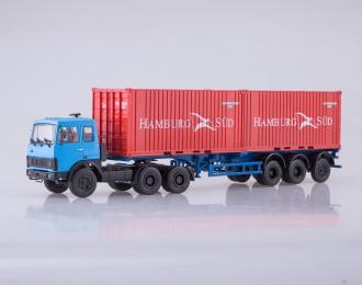 Набор МАЗ-6422 (синий) + полуприцеп МАЗ-938920 (красный)