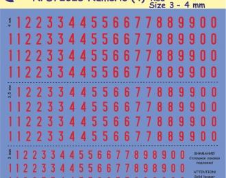 Декаль Цифры красные, высота 3-4 мм