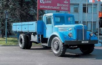МАЗ 200 бортовой, голубой