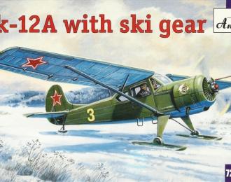 Сборная модель Советский лёгкий многоцелевой самолет Як-12А на лыжах
