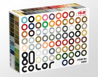 Набор акриловых красок «Палитра 80 цветов» (в набор входит весь ассортимент 77 цветов + 3 лака, по 12 мл)