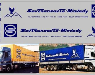 Набор декалей SovTransAvto-Minvody для МАЗ-93971 (100х290), синий