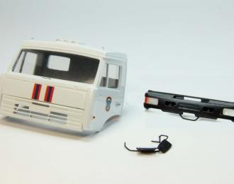 Дневная кабина для КАМАЗ вариант МЧС (Евро-2, пластиковый бампер), белый