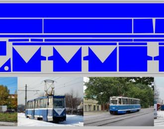 Набор декалей полосы для Трамвая КТМ-5М3 синий (100х360)