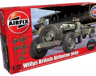 Сборная модель Британский авиадесантируемый автомобиль WILLYS JEEP 1/4 TON 4X4 с орудием