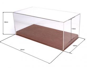 Прозрачный бокс для модели в масштабе 1:18, подставка из кожи (323*160*135mm)