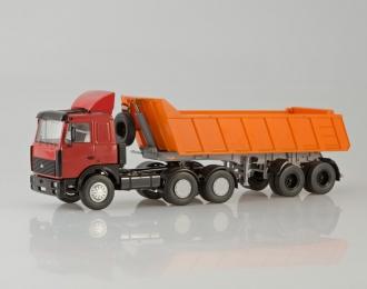 (Уценка!) МАЗ 6422 с самосвальным полуприцепом МАЗ 9506-20, красный / оранжевый