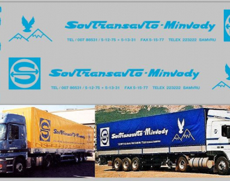 Набор декалей SovTransAvto- Minvody для МАЗ-93971 (100х290), голубой
