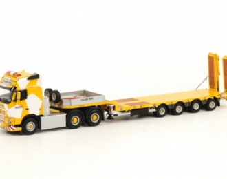 VOLVO FH3 Globetrotter Low Loader Semi (4 axle) Keller Hess, Premium Line 1:50, желтый