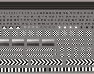 Набор декалей Габариты, номера и полосы для специализированной техники (черно-белые), 210x148