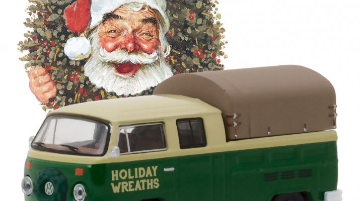 "VOLKSWAGEN T2 Double Cab pick-up ""Holiday wreaths"" c тентом 1978"