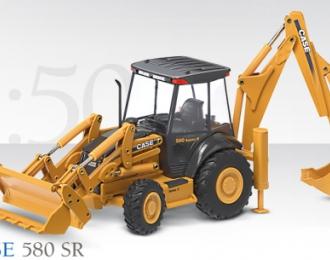 CASE 580 SR Baggerlader mit Tieflöffel und Schaufel