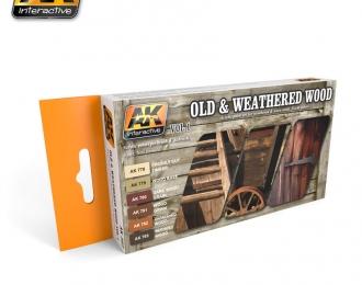 Набор акриловых красок OLD AND WEATHERED WOOD VOL.1 (6 красок) (старая и изношенная древесина, первый набор)