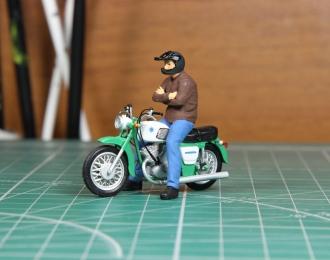 Мотоциклист Толя (для Иж Планета-3) черный шлем